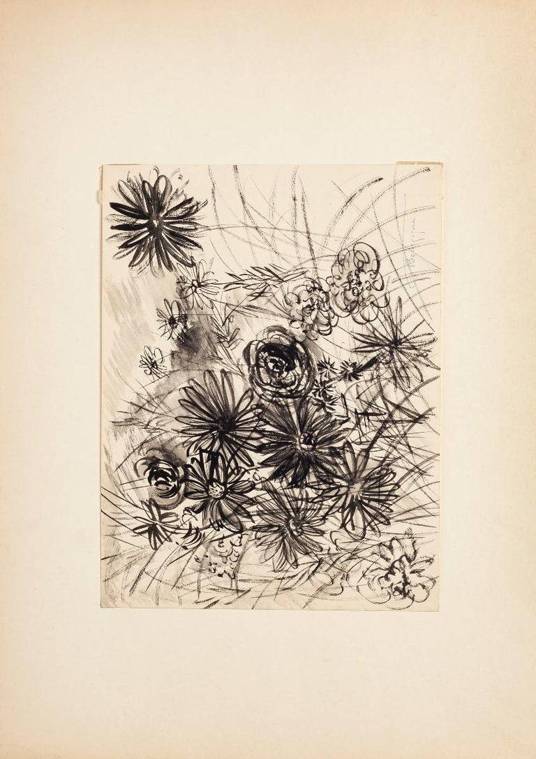 Gustave Bourgogne Still-Life - Flowers Composition - China Ink and Watercolor by G. Bourgogne -Mid-20th Century