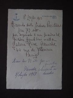 A Sale of Gentilini's Oil - Autograph Receipt by Countess Pecci Blunt - 1953