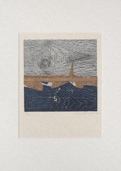 Landscape - Original Woodcut by Yannis Papadakis - 1970s