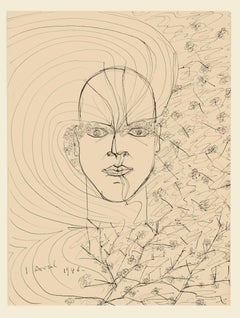 Portrait - Original Pen on Paper by by Maurice Rouzee - 1946