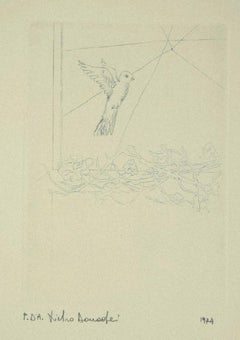 Bird - Original Etching on Paper by Pietro Donadei - 1974