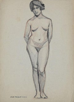 Nude - Pencil on Paper by André Meaux-Saint-Marc - Early 20th Century