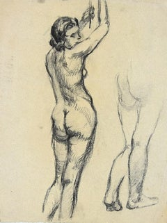 Nude Woman - Pencil on Paper by André Meaux-Saint-Marc - Early 20th Century