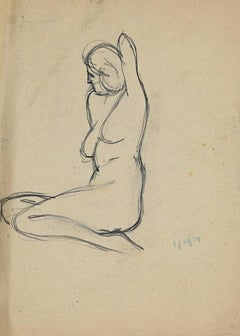 Nude - Original Pencil on Paper by André Meaux-Saint-Marc - Early 20th Century