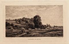 Paysage du Berri - Original Etching by Charles-François Daubigny - 19th Century