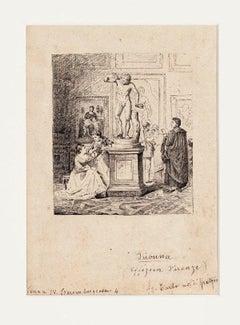 Firenze - Visita agli Uffizi - Original Ink on Paper - 1880s