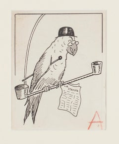 Parrot - Original China Ink by Bruno Angoletta - Early 20th Century