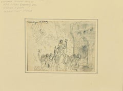 Figures and the Castle - Original Pen on Paper by Bertrand Mogniat-Duclos - 1950