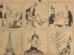 Studies of Figures - Original Pencil and China Ink by Gabriele Galantara - 1915