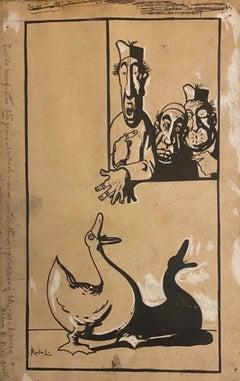 Figures - Original China Ink by Gabriele Galantara - Early 20th Century