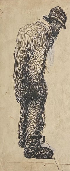 The lonely man - Original China Ink by Gabriele Galantara - 1910s