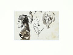 Studies for Portraits - Original China Ink - Late 19th Century