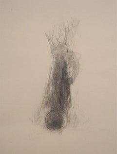 Tree and Moon - Original Pencil on Paper by Andrea Fogli - 2006