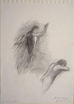 Cupid and Psyche? - Original Pencil on Paper by Andrea Fogli - 2007