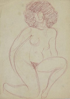 Naked Woman - Pencil Drawing by André Meaux Saint-Marc - Early 20th Century