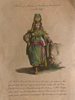 Costume of a Woman from Siberia -Original Watercolored Etching by J.B. Le Prince