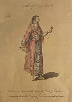 Costume of a Lady from Indostan - Original Etching by J.B. Le Prince