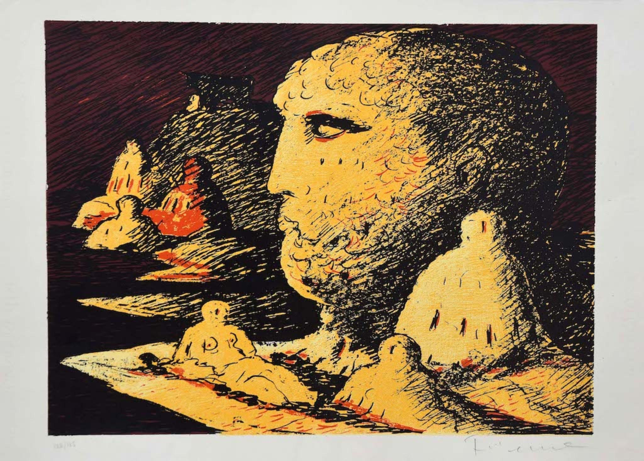 Figures - Original Screen Print by Salvatore Fiume - Late 20th Century