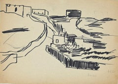 Scenery - Original Black Marker Drawing - Mid-20th Century