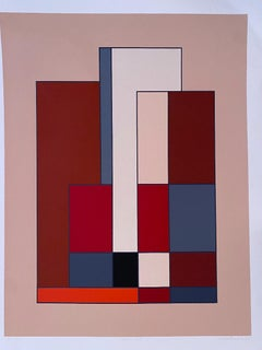 Abstract Composition - Original Lithograph by Carla Badiali - 1985