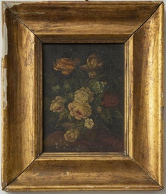 Flowers - Original Oil Painting on Cardboard - Early 20th Century
