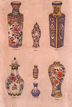 Porcelain Vases - Original China Ink and Watercolor - 1890 ca.