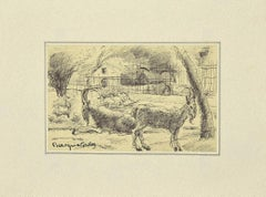 Animals in the Enclosure - Original Artwork by Bertrand Mogniat-Duclos - 1950s