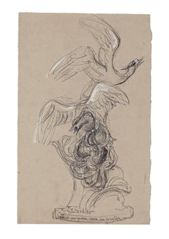 Seagull Caught by an Octopus - Original Drawing - Mid-20th Century