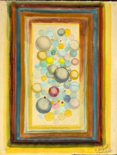 Abstract Spheres - Original Watercolor on Cardboard by Jean Delpech - 1939