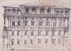 Architecture - Original Pen Drawing by Gabriele Galantara - 1910s