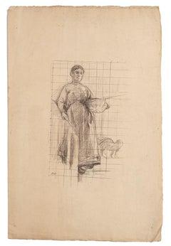 Paesant Woman - Original Pencil Drawing - Late 19th Century