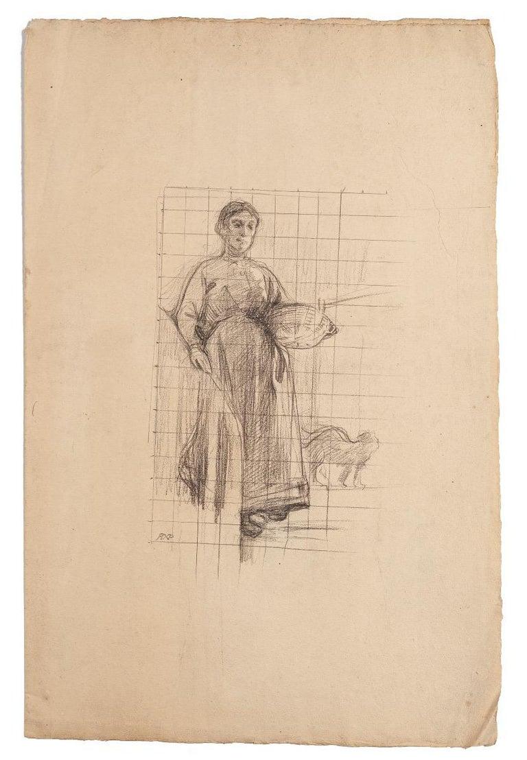 René Francois Xavier Prinet Figurative Art - Paesant Woman - Original Pencil Drawing - Late 19th Century