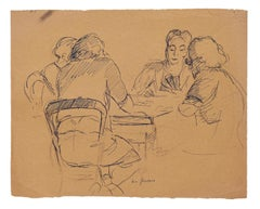 Card Players - Original Pen on Paper - Mid-20th Century