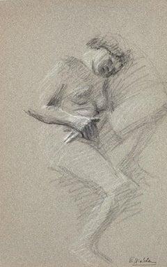 Nude of Woman - Original Pencil on Cardboard - Early 20th Century