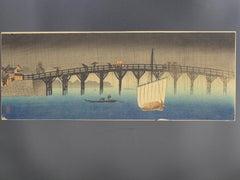 Makura Bridge Under the Rain - Original Woodcut by Takahashi Shōtei - 1909/1915