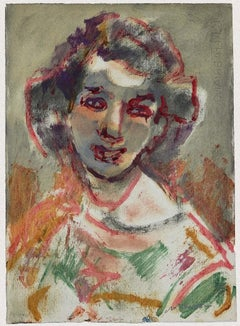Portrait of a Woman - Original Watercolor by Mino Maccari - 1960 ca.