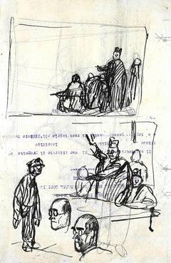 In the Court - Original Ink Drawing by Gabriele Galantara - 1910 ca.