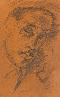 Portrait - Original Pencil Drawing on Paper by Mino Maccari - 1930s