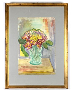 Flowers - Original Watercolor on Paper by Caroline Hill - Mid-20th Century