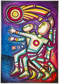 Atletismo - Original Acrylic Painting on Canvas by Alfredo Sosabravo - 2007