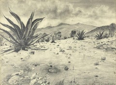Landscape with Agave - Original Drawing by Robert Block - 1970s