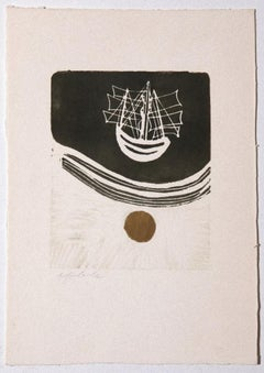 The Ship - Original Etching by Angela Colombo - 1970