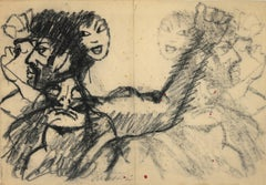 The Useless Attempts - Original Charcoal Drawing by Mino Maccari - 1950s