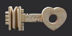 The Key to Heart- Original Wooden Sculpture by Ferdinando Codognotto - 2010