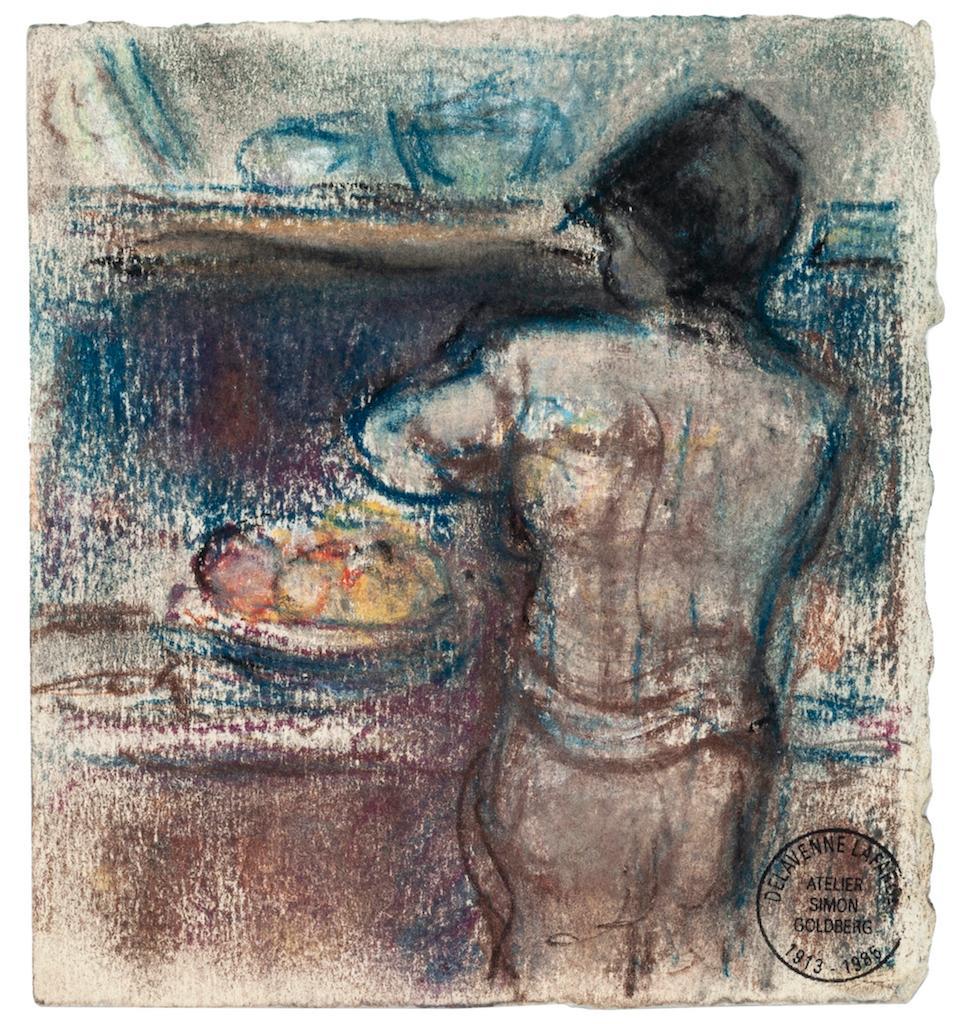 Nude - Original Oil Pastel by Simon Goldberg - Mid-20th Century