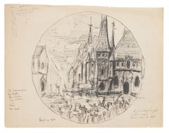 The Church - Original Pen and Pencil on Paper - Early 20th Century