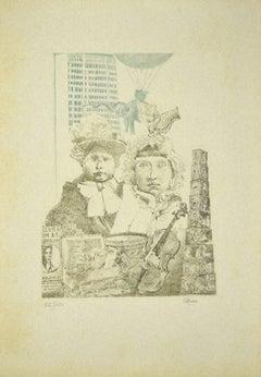 Children - Original Etching by C. Cattaneo - 1980s