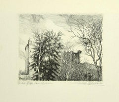 Landscape - Original Etching on Paper by Andre Roland Brudieux - 1970s
