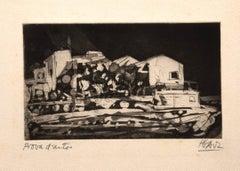 Landscape - Original Etching by Miguel Angel Ibartz - Mid-20th Century