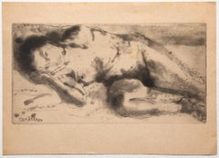 Nude - Original Etching on Paper by Carlo Vitale - 1946